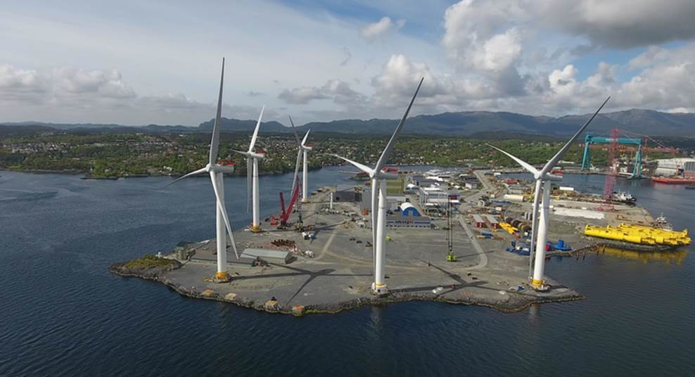 The Hywind turbines at a yard in Norway