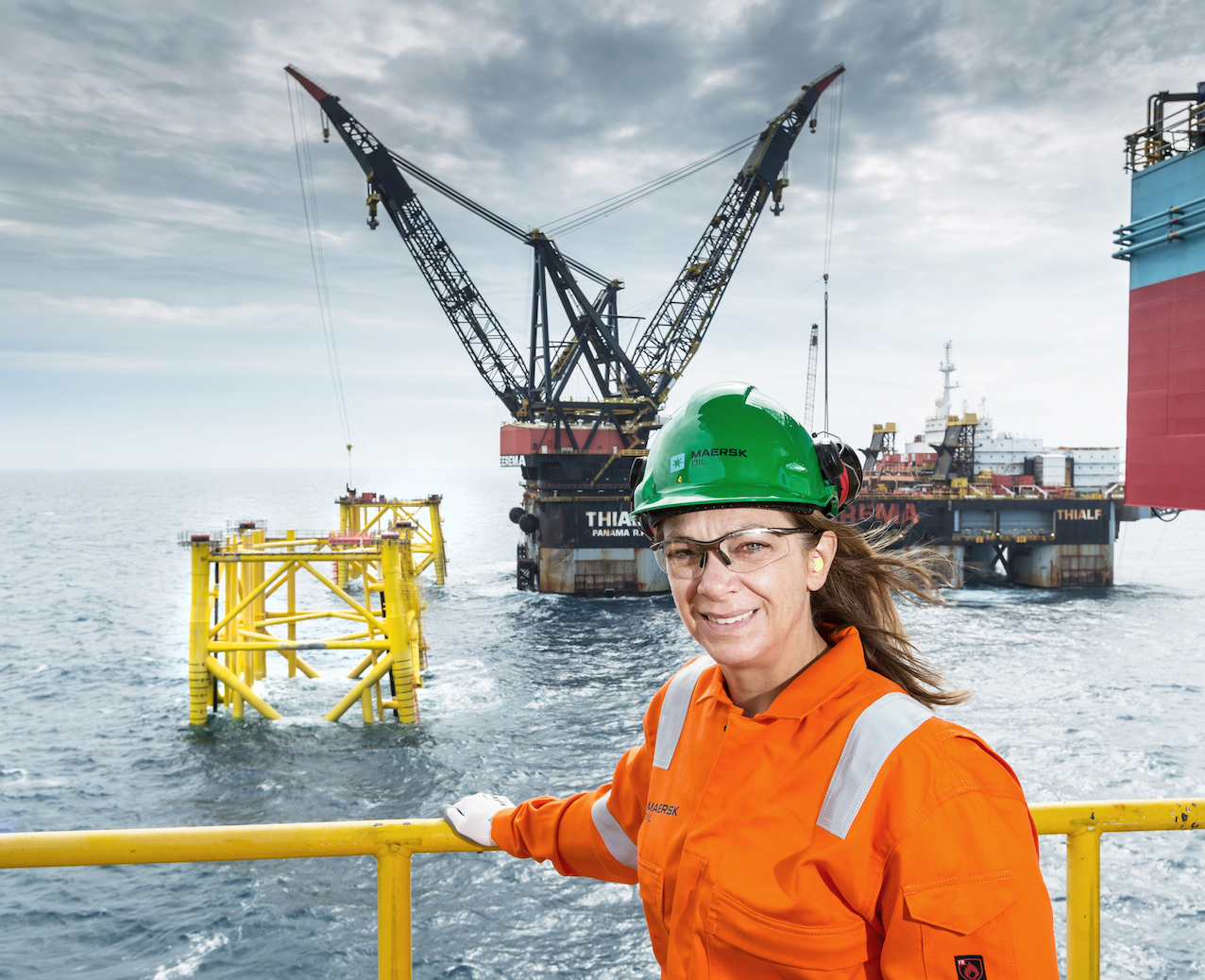 Maersk Oil CEO Gretchen Watkins overlooks the two new jackets at the Culzean development in the North Sea.  Picture Simon Price/Firstpix Photography