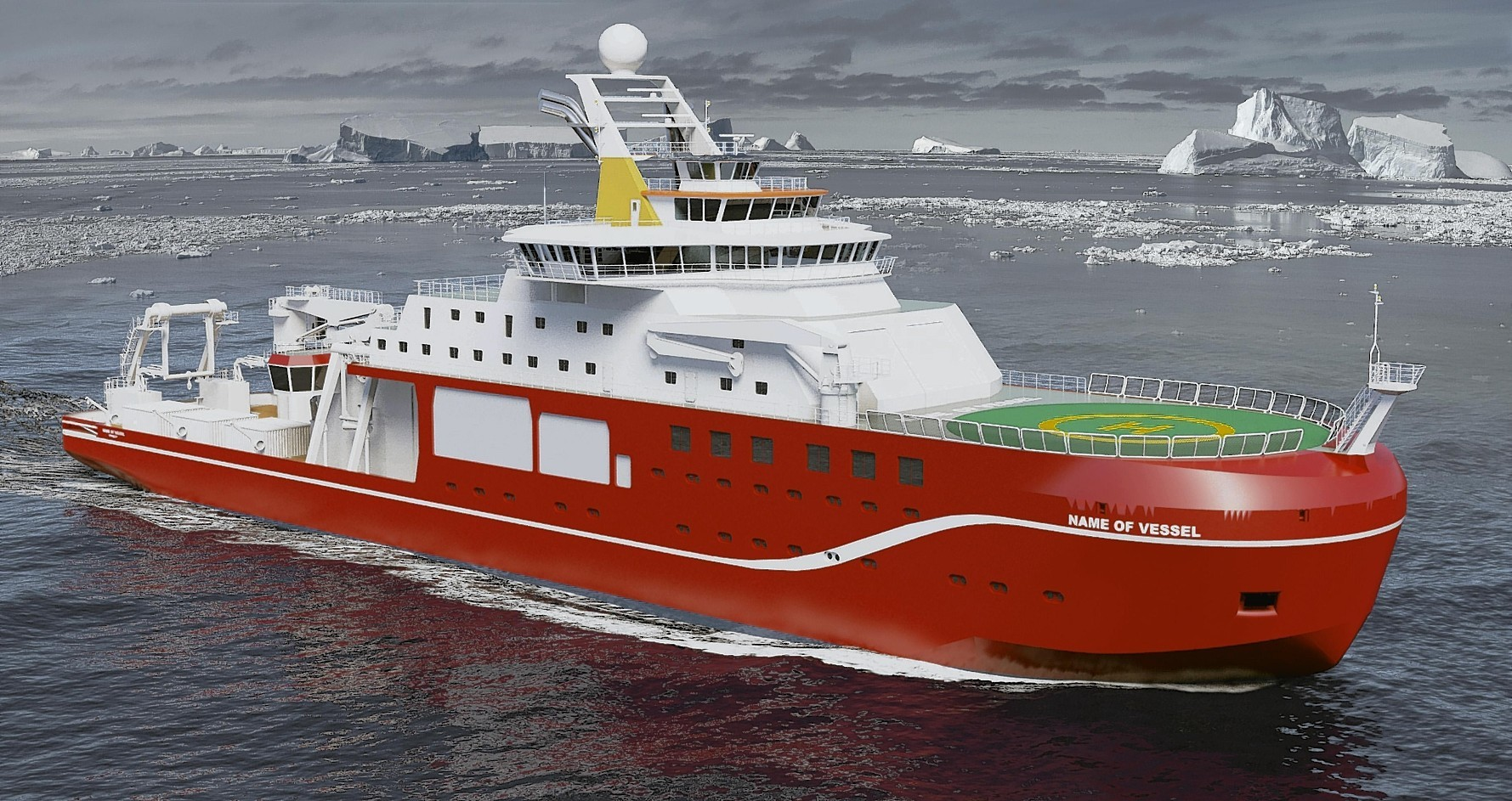 Undated handout artist impression issued by the Natural Environment Research Council (NERC) of a new state-of-the-art polar research ship, as construction of the ship.