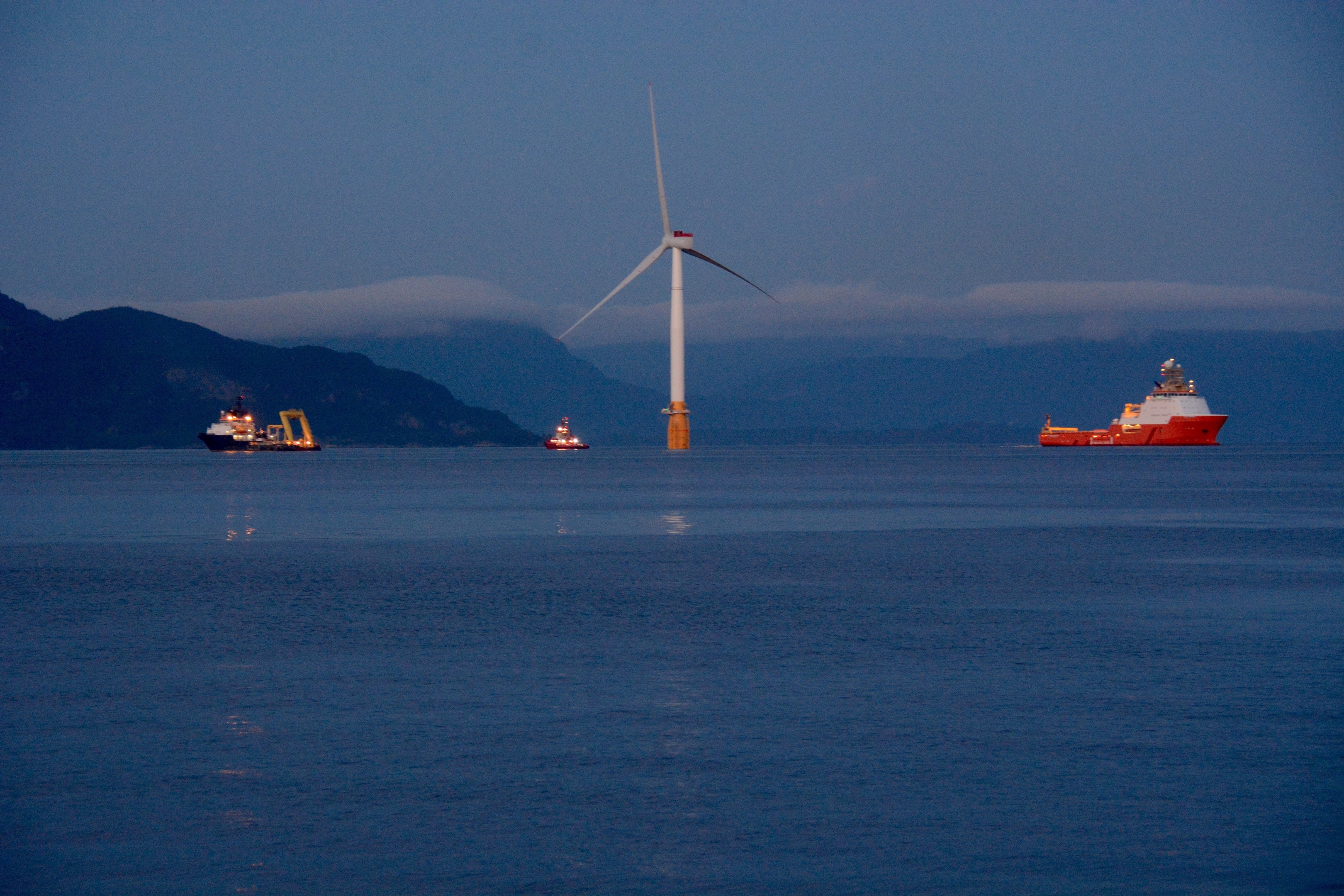 One of the turbines for the Hywind Floating Wind Farm of Scotland. Photo by Eva Sleire, Equinor.