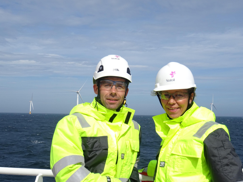 Halvor Hoen Hersleth, Hywind operations manager and Hedda Felin, managing director, Statoil Production UK.