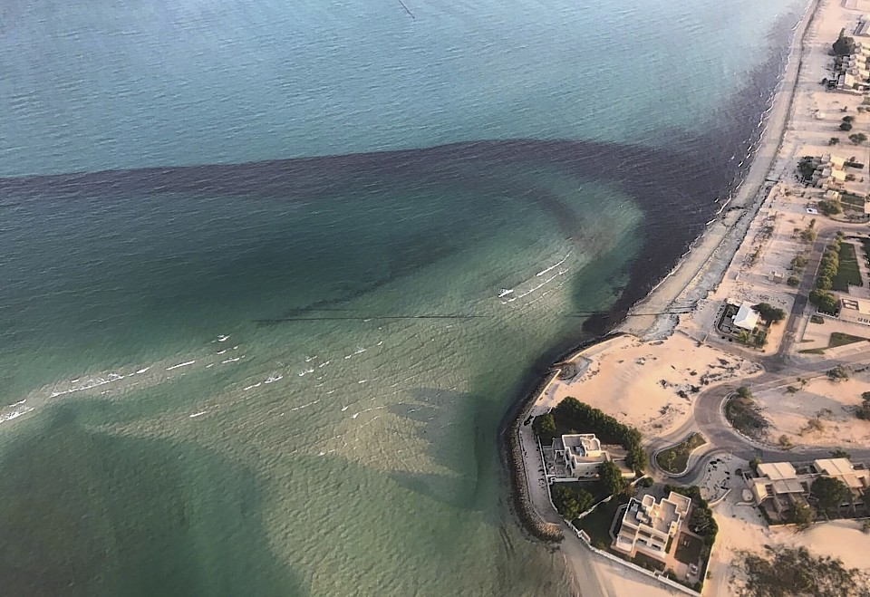 A picture of oil spilled off the coast of Kuwait in August 2017. (Kuwait Environment Public Authority via AP)
