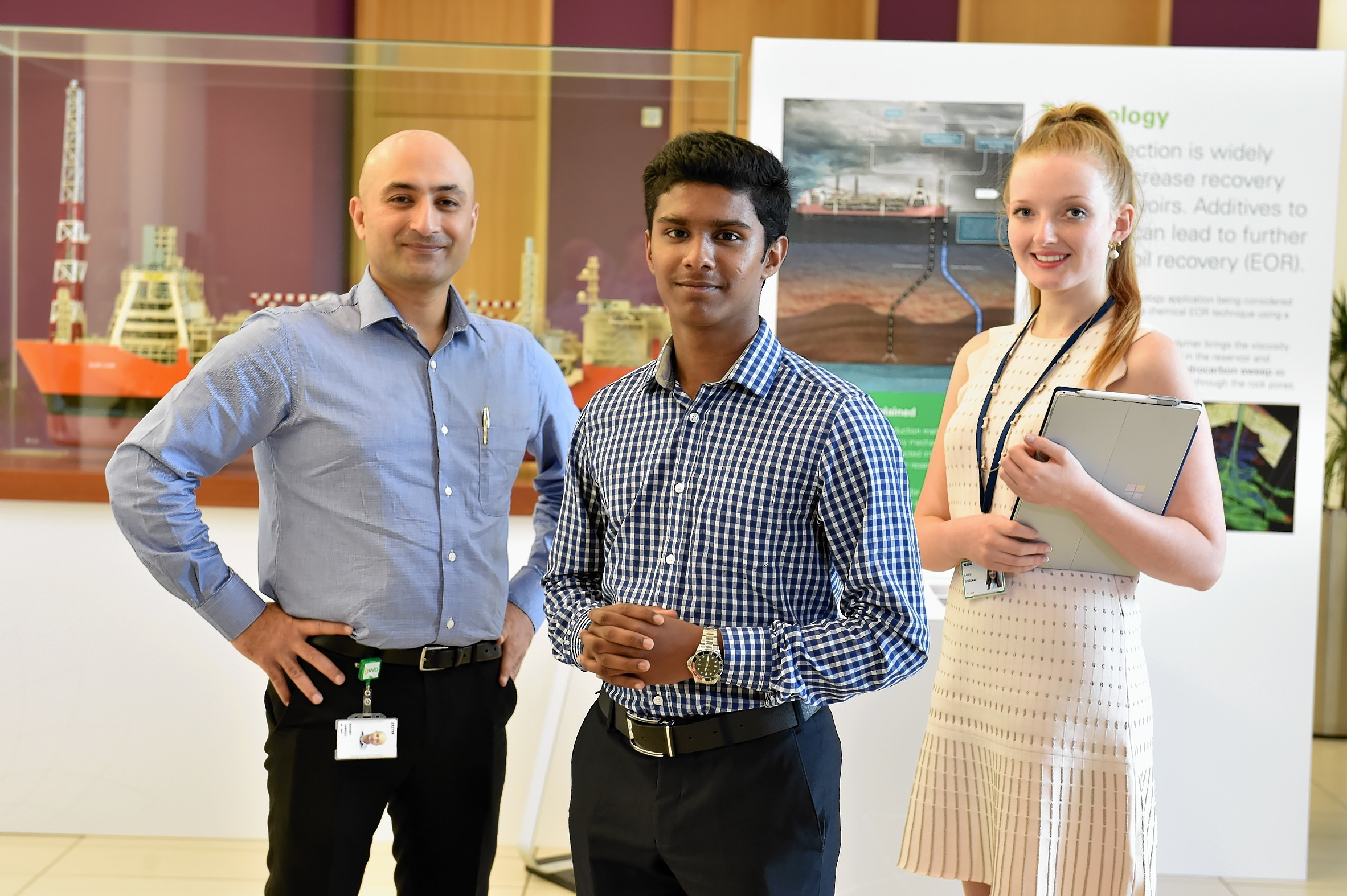The BP Mentoring Program. Picture of (L-R) mentor Manish Labroo, work experience Jeswin Vardhese and Laura Steedman at BP Headquarters, Dyce.