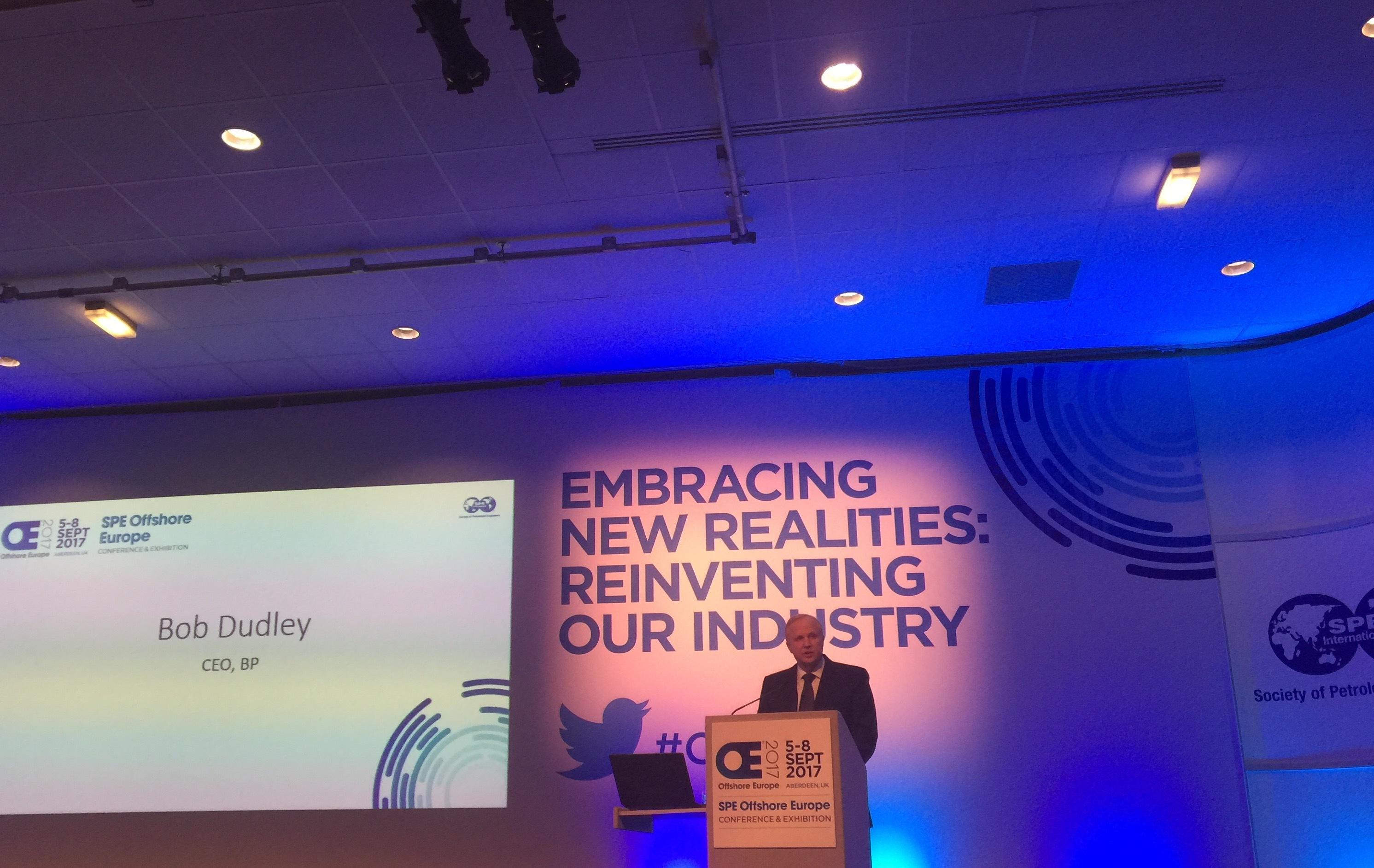 BP's Bob Dudley addressing Offshore Europe