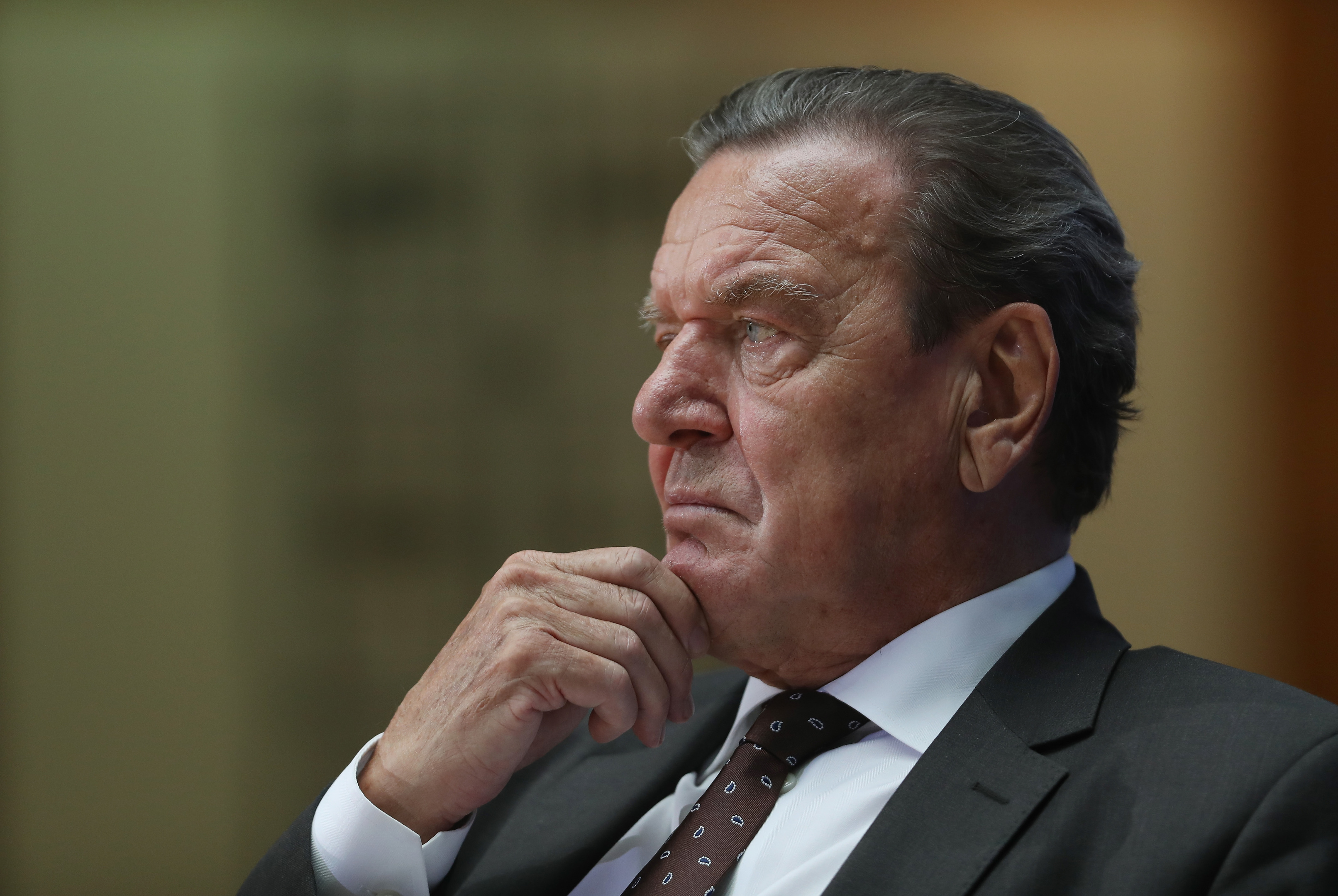 "BERLIN, GERMANY - SEPTEMBER 29:  Former German Chancellor Gerhard Schroeder attends the presentation of the book: ""Helmut Schmidt - The Later Years"" on September 29, 2016 in Berlin, Germany. Schmidt, a Social Democrat (SPD), led Germany as chancellor from 1974 to 1982 and died last year. Schroeder, als a Social Democrat, served as chancellor from 1998 to 2005.  (Photo by Sean Gallup/Getty Images)"