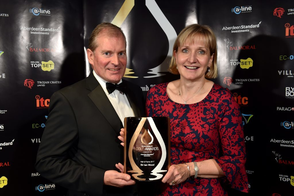 Press & Journal's Gold Awards 2017, at the Marcliffe Hotel.  Picture of (L-R) Kevin Milne and Hall of Fame - Sir Ian Wood (collected by Deirdre Michie)  Picture by KENNY ELRICK     08/09/2017