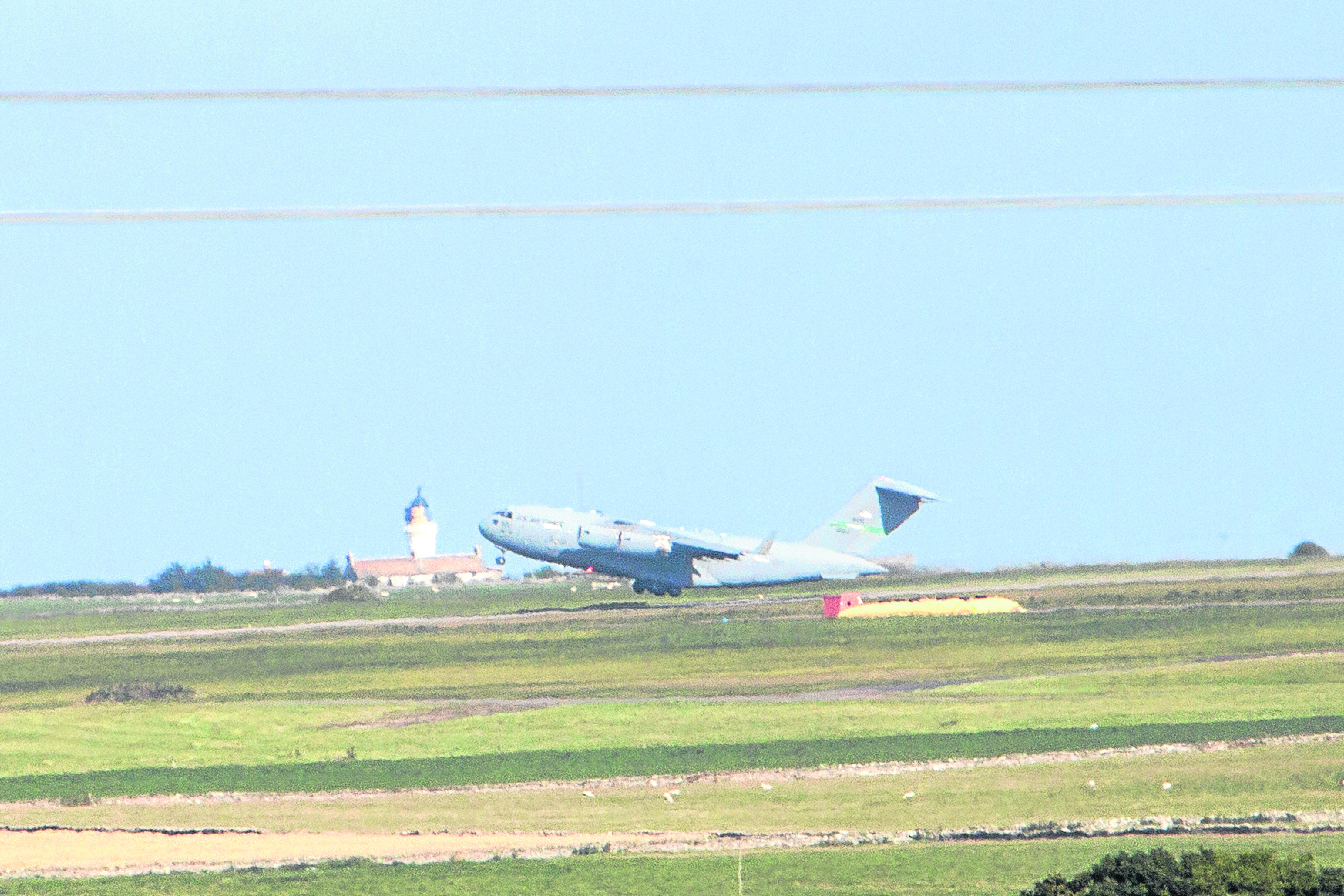 The United States Air Force C-17 Globemaster takes off from Wick's airport