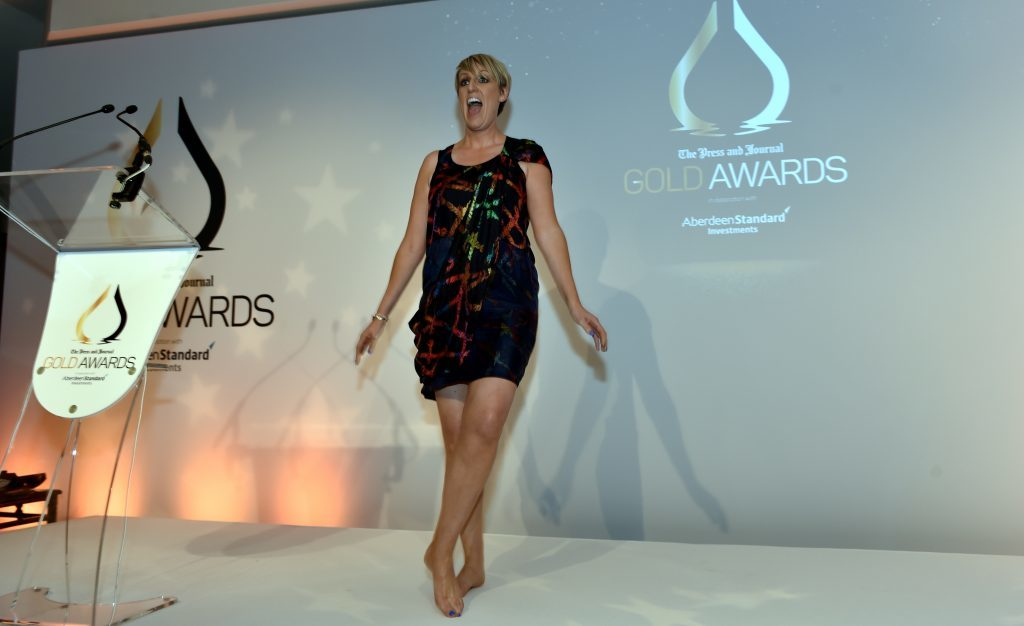 Gold awards held at the Marcliffe Hotel and Spa, Aberdeen. Steph McGovern dancing. Picture by COLIN RENNIE September 8, 2017.