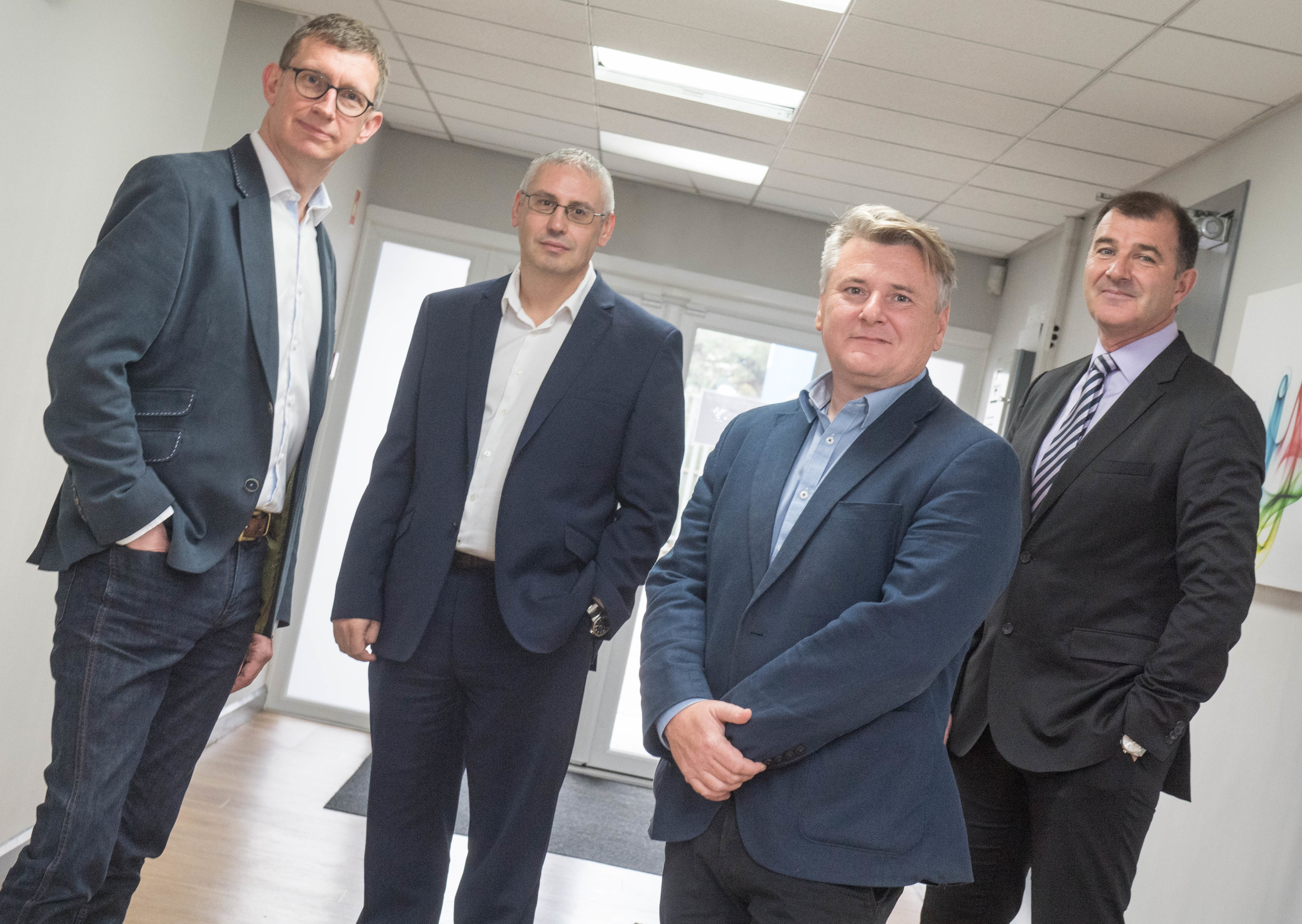 L-R: Stuart Ferguson, FrontRow chief executive, Gary Smart, Well-Centric CEO, Craig Feherty, Well-Sense CEO, and Alasdair Fergusson, Clearwell managing director.