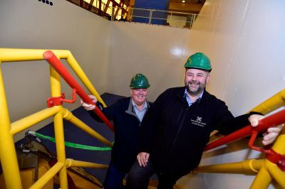 Score Subsea managing director Bill Urquhart, left, and group managing director Conrad Ritchie at the new tank