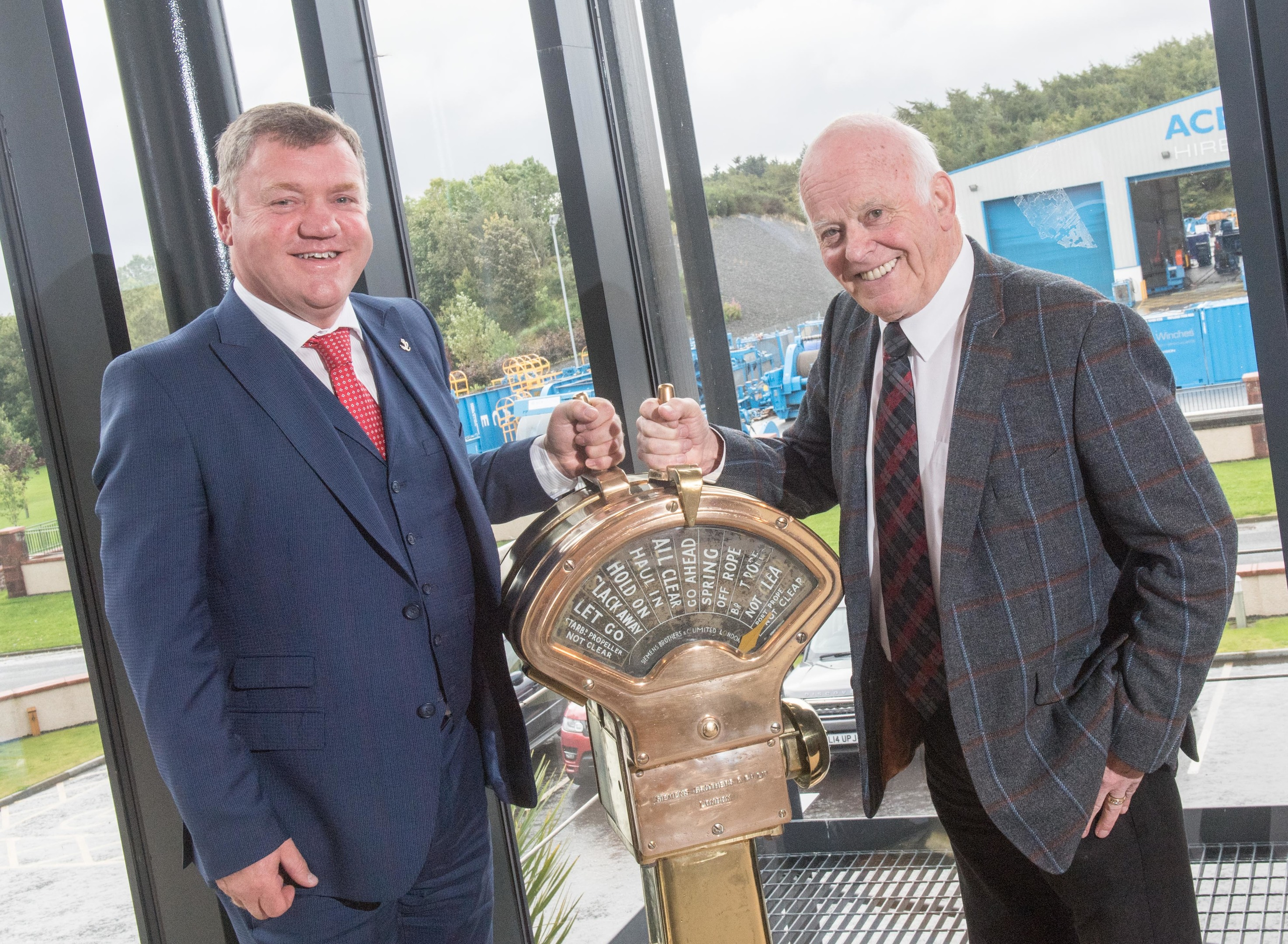Aberdeen, Scotland, Friday 15th September 2017  Multi-disciplined design, engineering and manufacturing company, Balmoral Group Holdings Ltd, has taken a substantial stake in ACE Winches by investing £10m in the Turriff-based company.   Pictured is (l to r):  Alfie Cheyne, CEO and founder of ACE Winches, Jim Milne, chairman and managing director at Balmoral Group,      Picture by Michal Wachucik / Abermedia