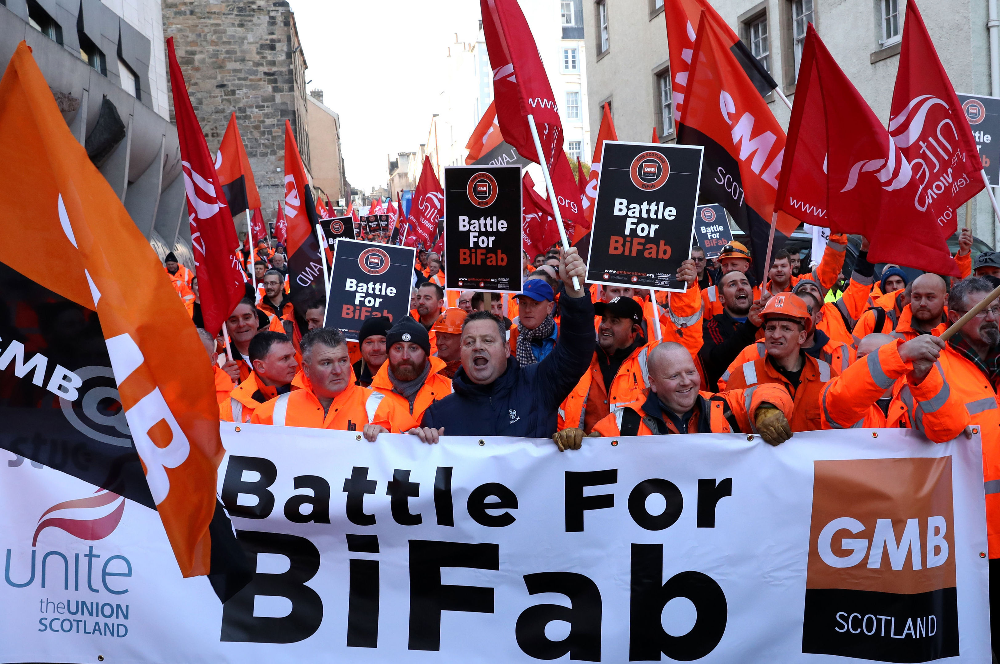 Workers from crisis-hit fabrication firm BiFab march through Edinburgh to the Scottish Parliament in a bid to raise awareness of their plight. PRESS ASSOCIATION Photo. Picture date: Thursday November 16, 2017. See PA story INDUSTRY BiFab. Photo credit should read: Andrew Milligan/PA Wire
