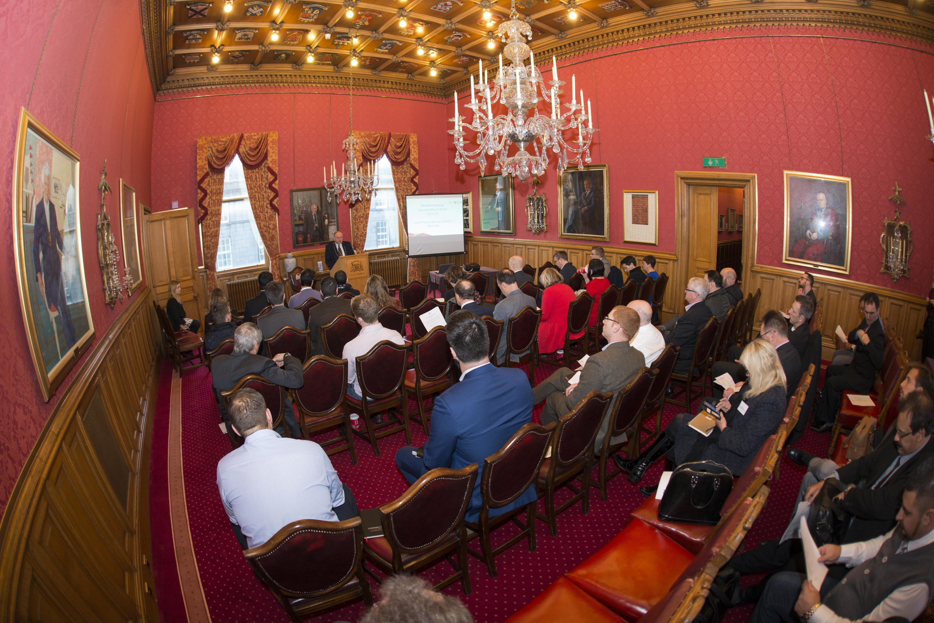 30/11/17 Lord provost Barney Crockett opened A seminar for businesses to work in oil and gas in Brazil. Credit: Norman Adams.