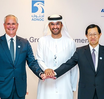 The agreement was confirmed at a ceremony attended by H.E. Dr. Sultan Ahmed Al Jaber, UAE minister of state and chief executive of Adnoc, ExxonMobil chief executive DarrenWoods, Inpex chief executive Toshiaki Kitamura.