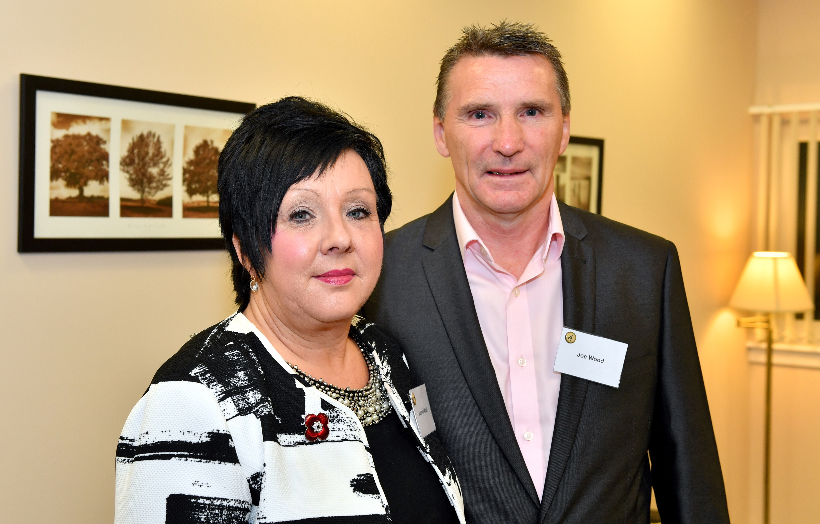 Audrey Wood and her husband, Joe, at the opening of Restrata's new office in Aberdeen on November 1.