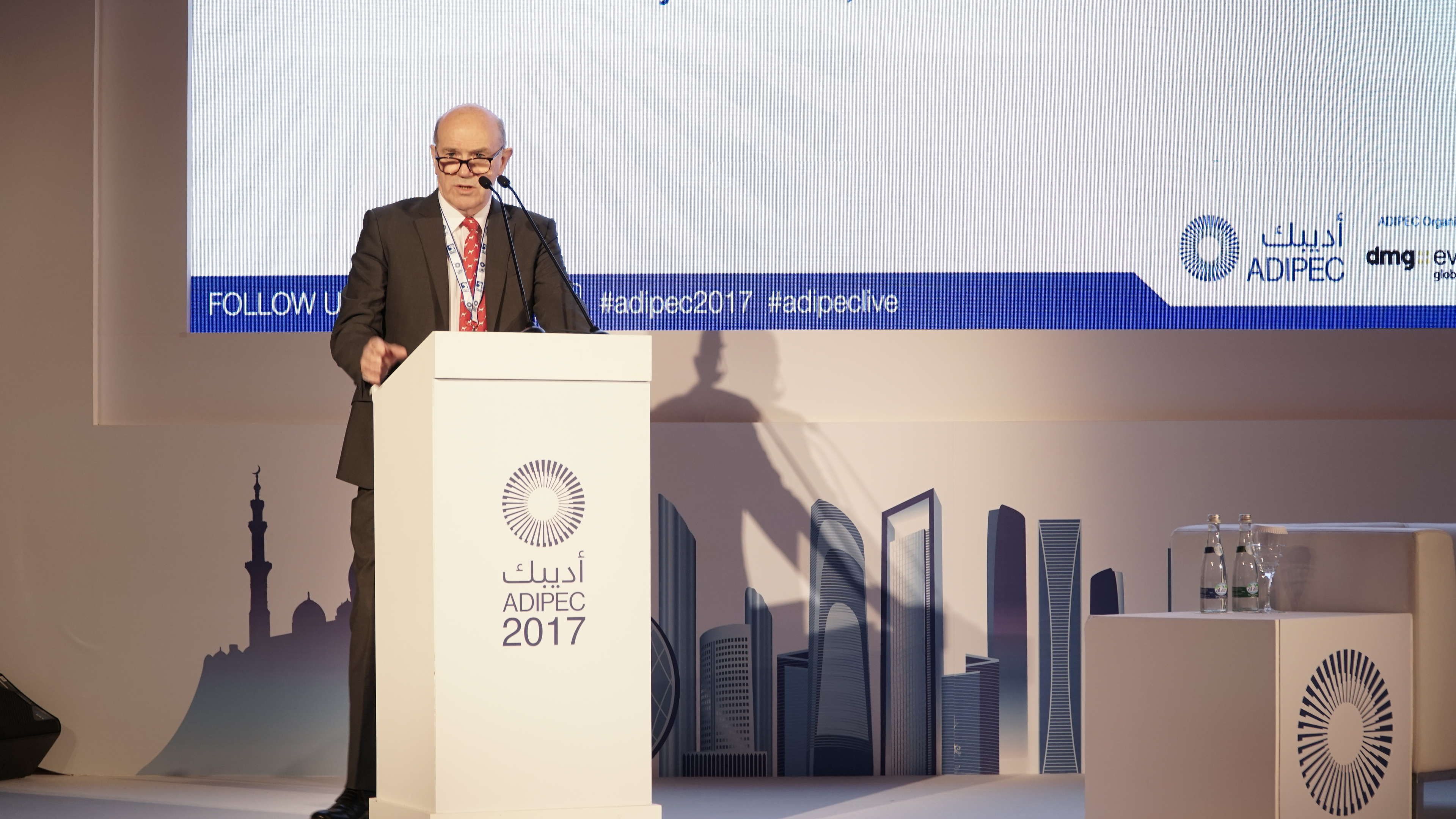 Sir Ronnie Flanagan delivering the keynote speech at the security in energy session at Adipec
