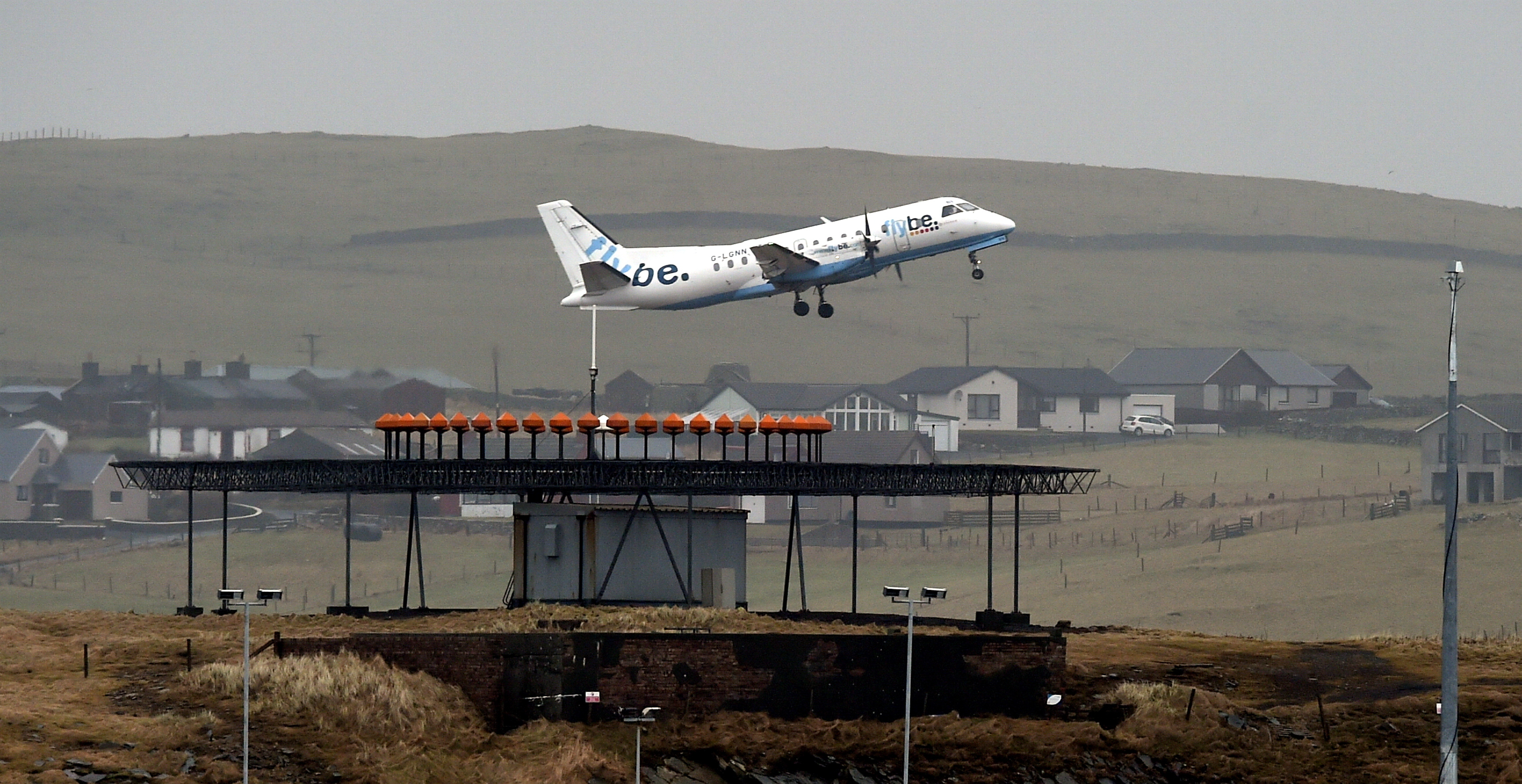 A Flybe aircraft takes off from Sumburgh Airport, Shetland.