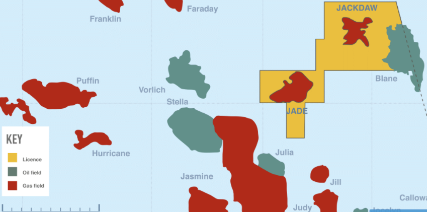 The Jade and Jackdaw assets in the central North Sea.