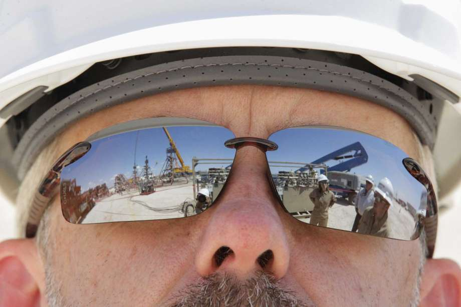 Noble Energy Mark Holdsworth views their fracking site Monday, June 26, 2017, in Pecos, TX. ( Steve Gonzales / Houston Chronicle )