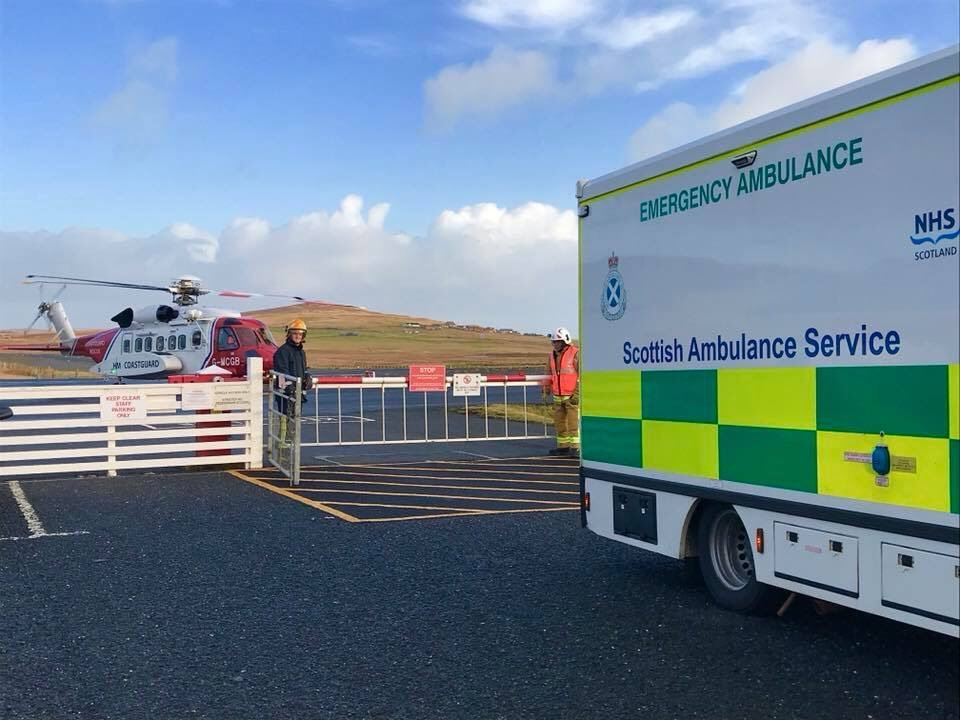 The helicopter was dispatched from Sumburgh on Sunday morning. PIC@ CoastguardJM