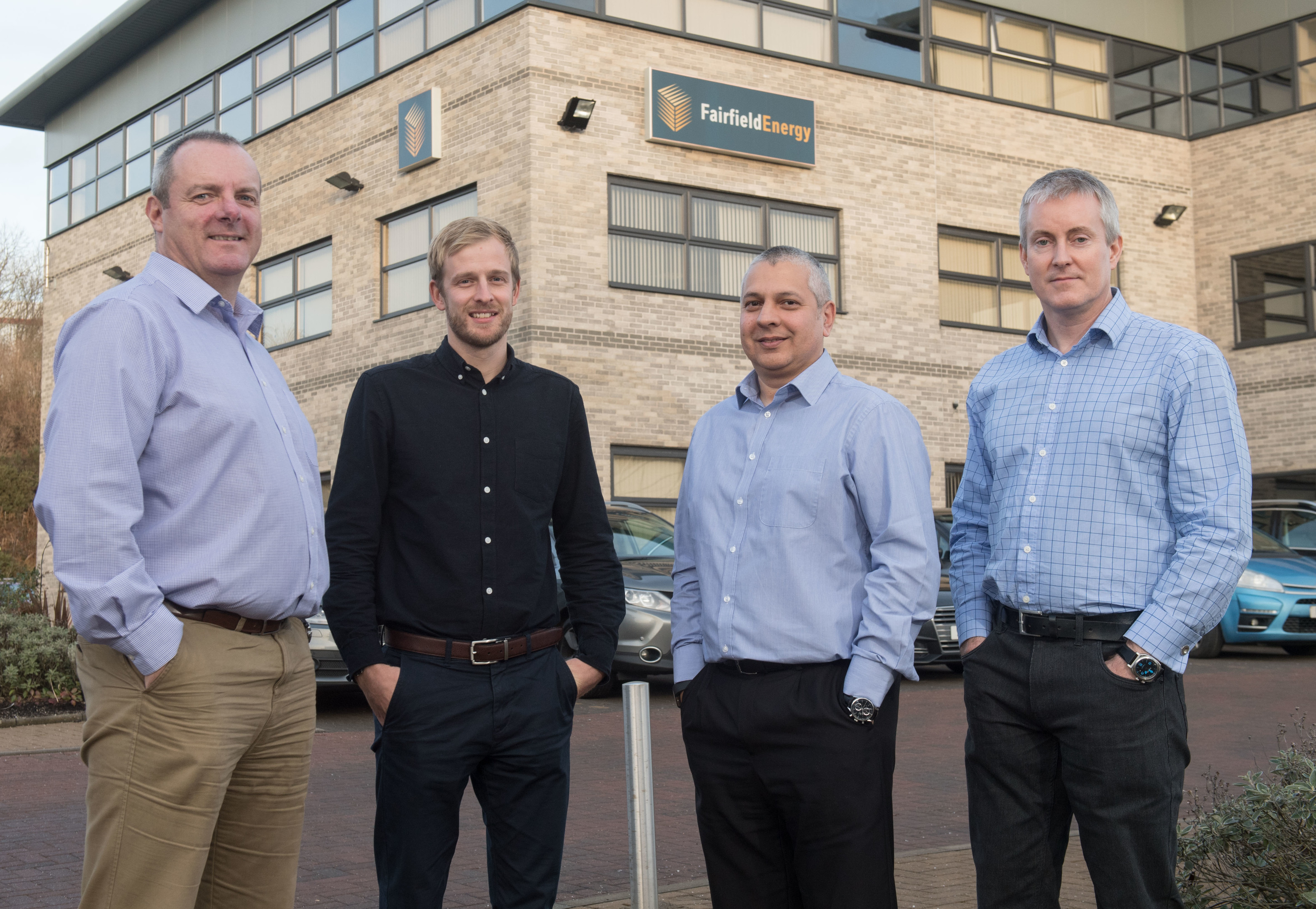 . L – R: Ian Bibby (Fairfield), Stephen Wylie (Ardyne), David Stewart (Ardyne), Iain Mackay (Fairfield).  Fairfield Energy and Ardyne celebrate successful partnership.  Pictured is l to r: Ian Bibby, Stephen Wylie, David Stewart, Iain Mackay.    Picture by Michal Wachucik / Abermedia