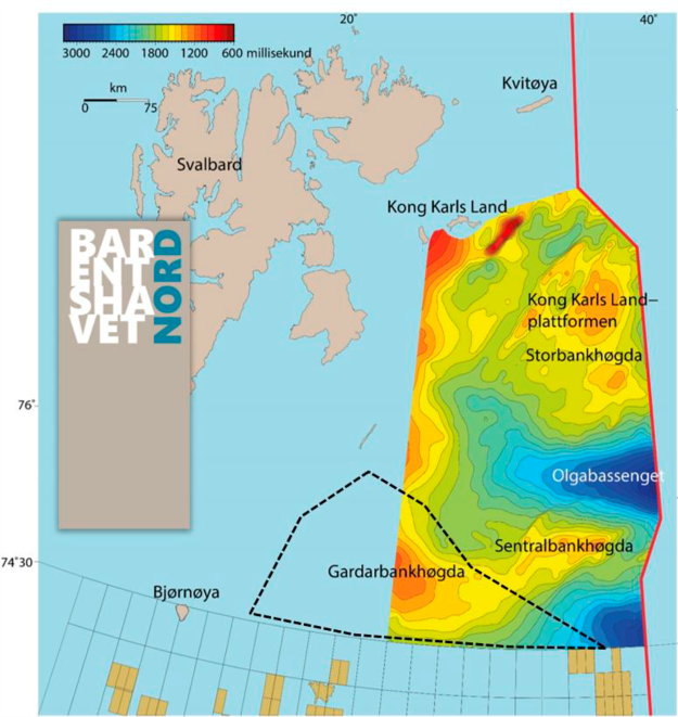 The map shows the acquisition area around the Gardarbank High in relation to the area in the eastern part of the Barents Sea North, which was presented by the NPD in the spring of 2017.