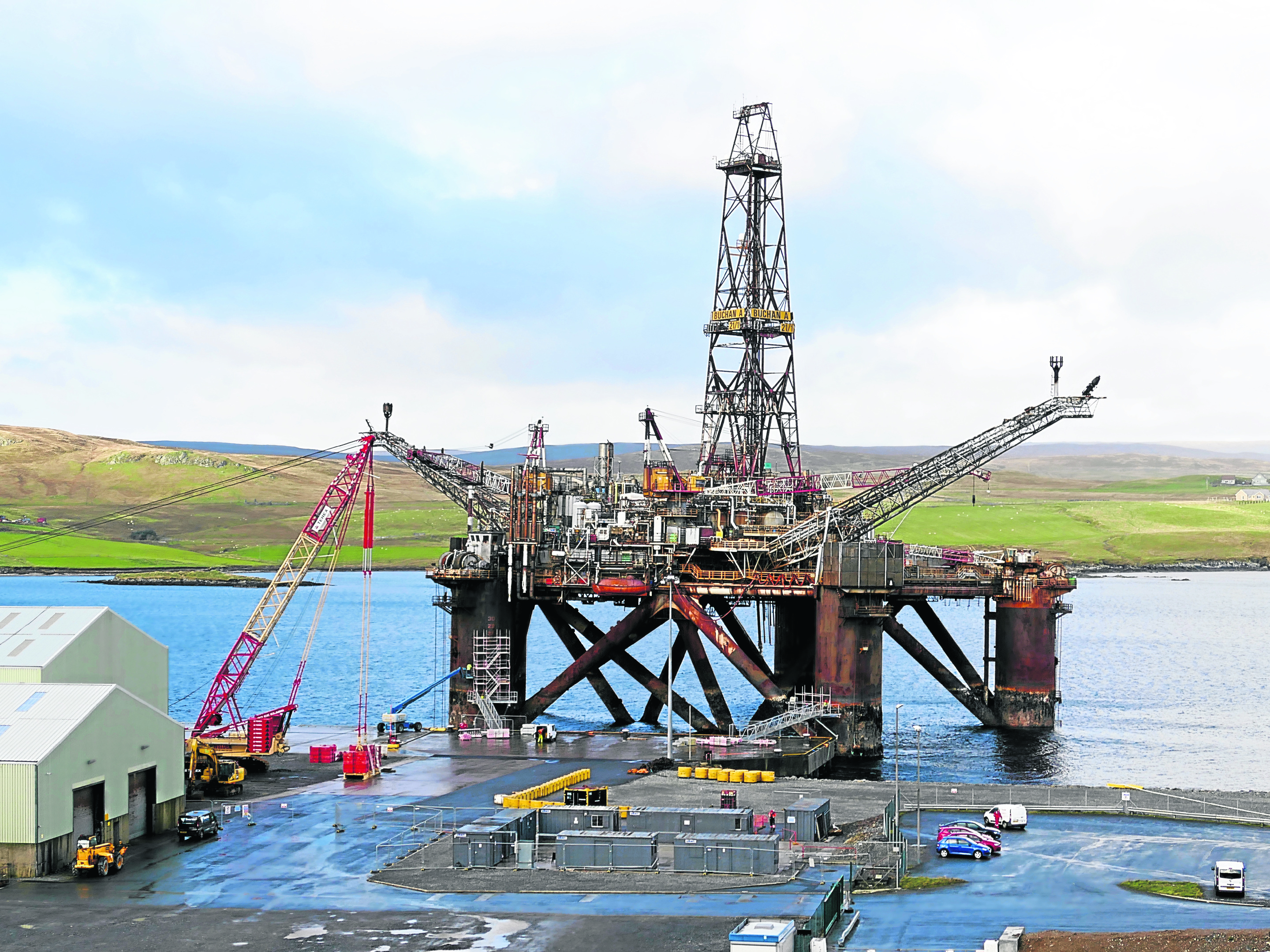 The Buchan Alpha floating production facility being decommissioned alongside Lerwick's quayside in 2017.