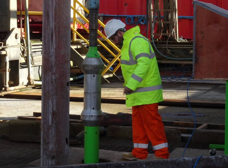 Raptor Oil's telemetry tool running in below the drill floor as part of testing