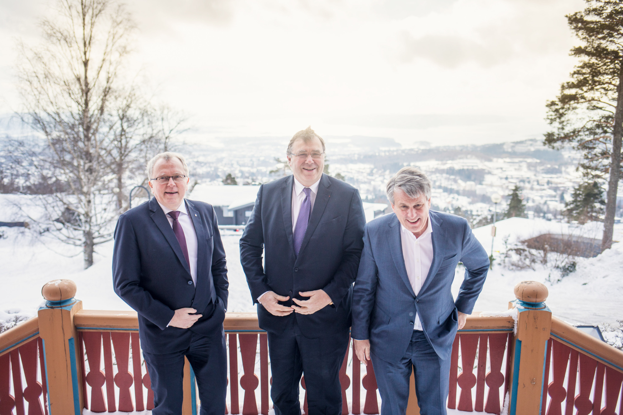 Eldar Saetre, chief executive officer of Statoil ASA, left, Patrick Pouyanne, chief executive officer of Total SA, center, and Ben van Beurden, chief executive officer of Royal Dutch Shell Plc, pose for a photograph following an interview on the sidelines of an energy conference in Oslo, Norway, on Thursday, Feb. 15, 2018. The bosses of three of the world's biggest oil companies gathered on the sidelines of an energy conference to make the case for a flagship Norwegianproject, in which the companies plan to store CO2 emissions under the North Sea after they've been shipped and piped from onshore industrial plants. Photographer: Kyrre Lien/Bloomberg
