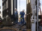 Precision Drilling oil rig operators prepare to install a bit guide on the floor of a Royal Dutch Shell Plc oil rig near Mentone, Texas, U.S., on Thursday, March 2, 2017.  Photographer: Matthew Busch/Bloomberg
