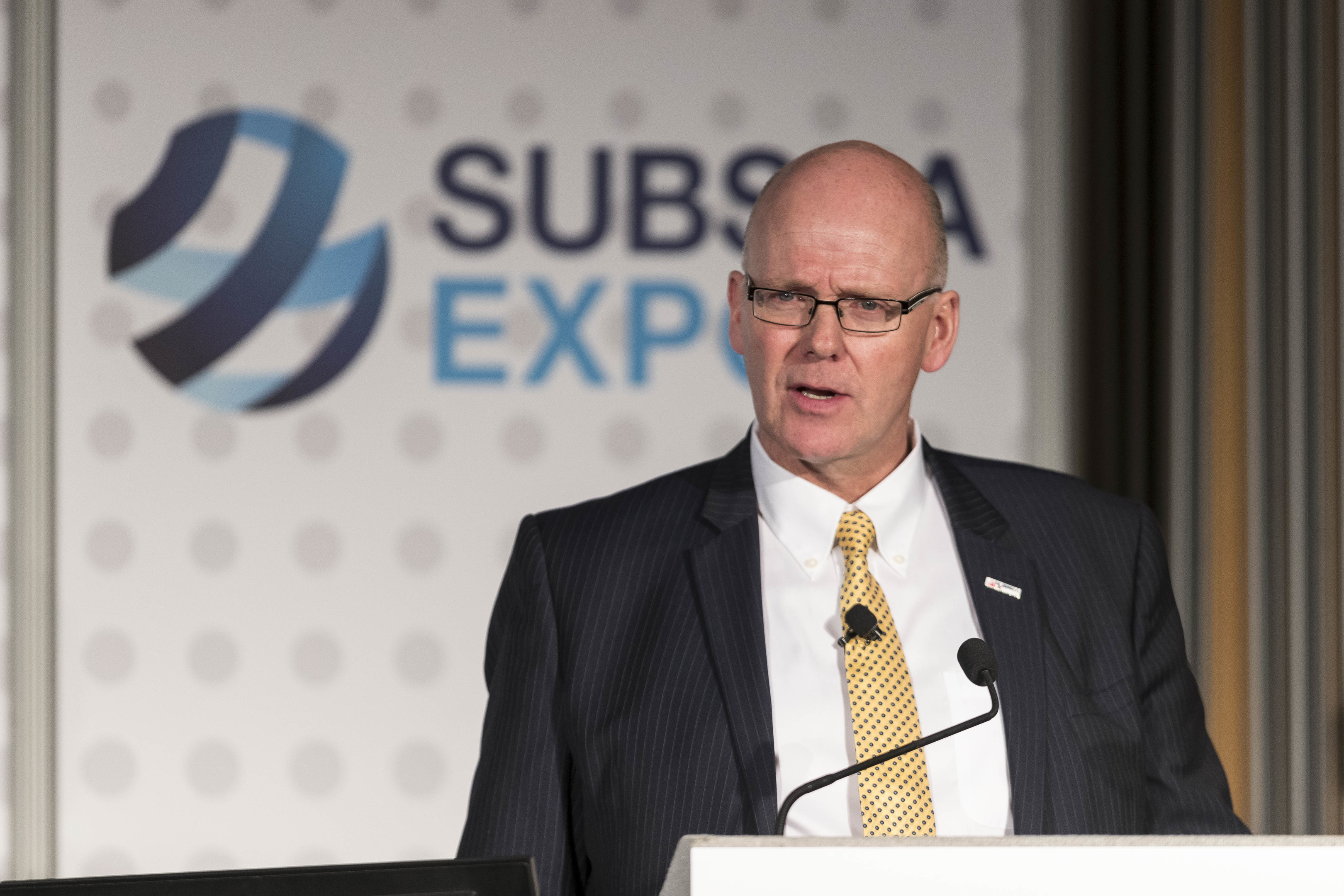Subsea UK chief executive Neil Gordon speak at plenary session of Subsea Expo 2018 in Aberdeen.