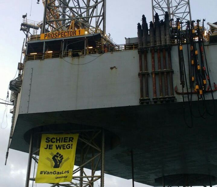 Greenpeace protesters commandeer North Sea rig.