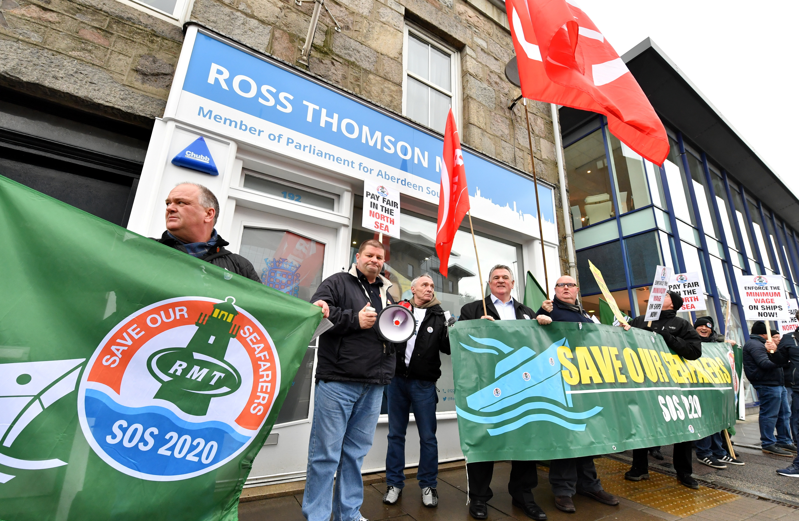 RMT Union for seafarers and offshore workers protest outside the constituency office of Conservative MP Ross Thomson, Holburn Street, Aberdeen, EARLI