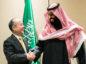 Masayoshi Son, chairman and chief executive officer of SoftBank Group Corp., and Mohammed bin Salman, Saudi Arabia's crown prince. Photographer: Jeenah Moon/Bloomberg