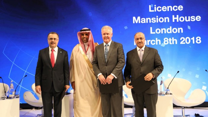 L to R: Amin H. Al-Nasser, President and CEO of Saudi Aramco His Excellency Ahmed Al-Khateeb, chairman of the quality of life programme Dave Stewart, CEO of Wood's Asset Solutions business in Europe, Africa, Asia & Australia Yousef Al-Benyan, SABIC Vice Chairman & CEO