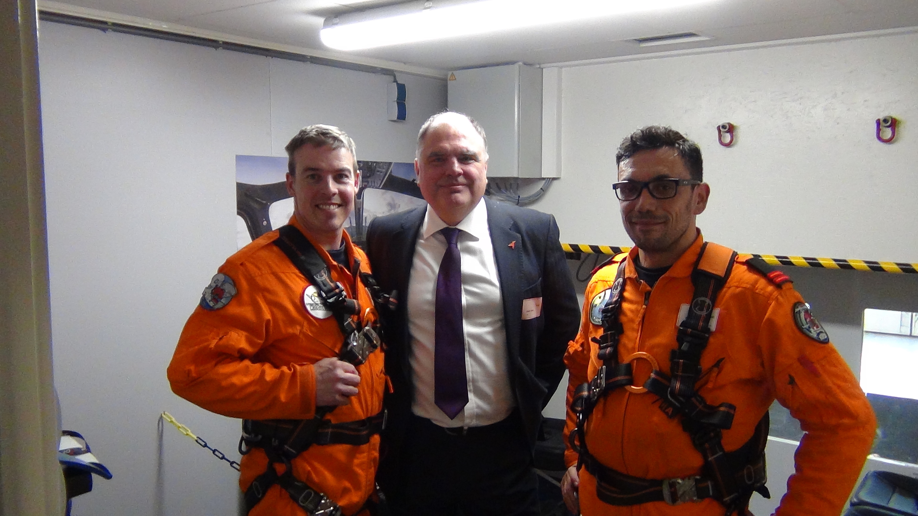 Mark Abbey, centre, at the hoist training facility in Den Helder.