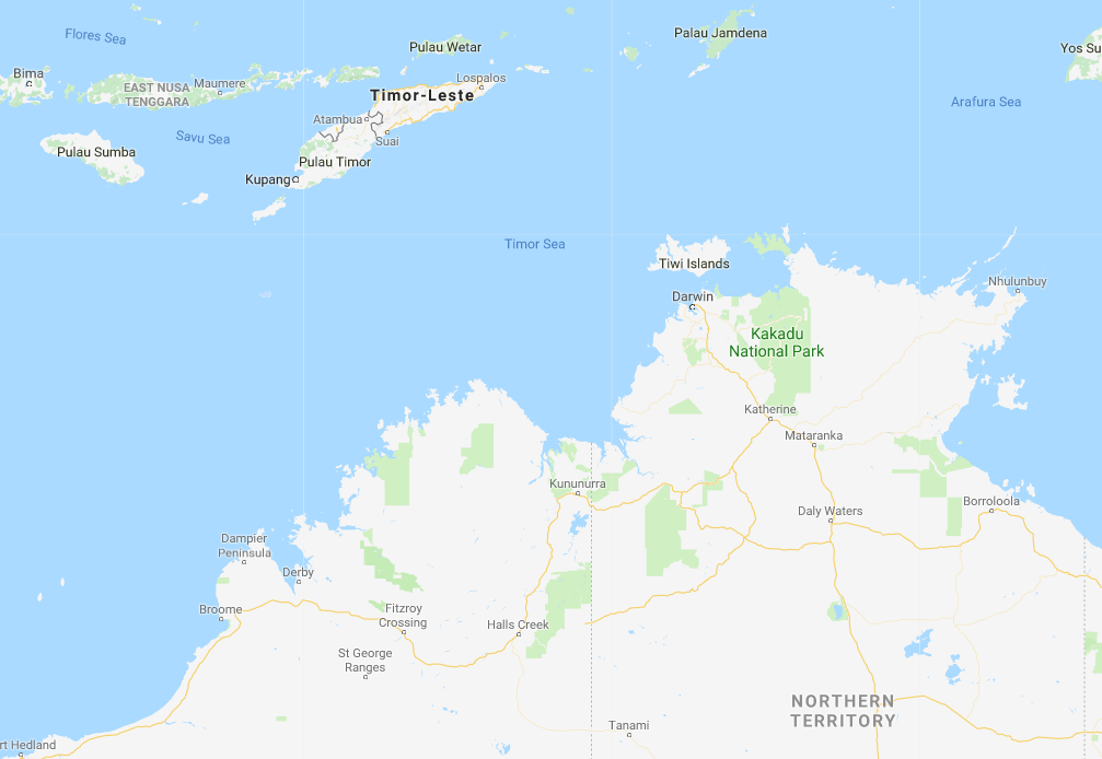 A map showing the location of the East Timor Sea