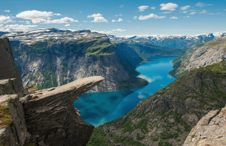 Trolltunga (Troll tongue) is a rock formation situated about 1,100 metres above sea level in the municipality of Odda in Hordaland county, Norway.