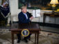 U.S. President Donald Trump displays a signed Presidential Memorandum after speaking during an announcement in the Diplomatic Room of the White House in Washington, D.C., U.S., on Tuesday, May 8, 2018. Photographer: Al Drago/Bloomberg
