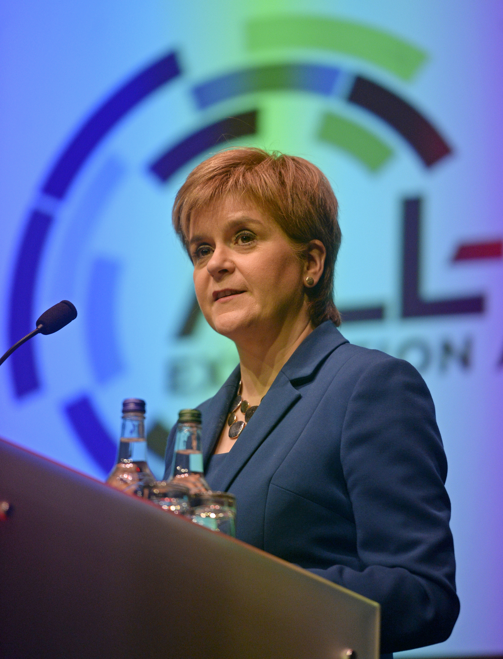 Scotland's First Minister Nicola Sturgeon at the All Energy Exhibition Conference at the Scottish Event Campus in Glasgow.  May 2 2018.