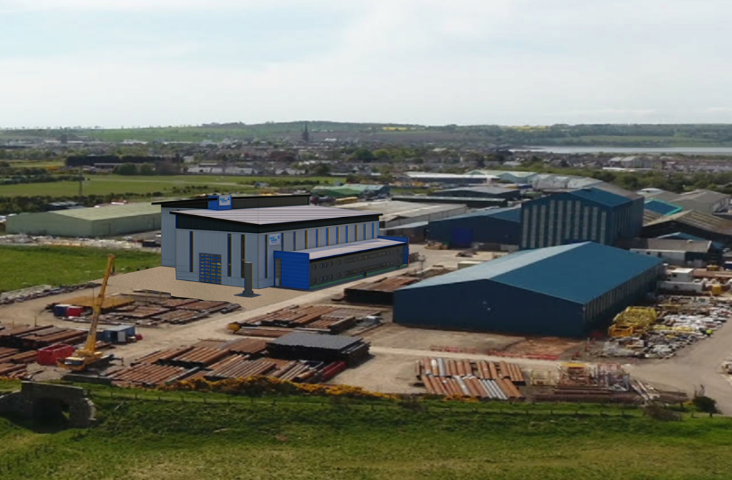 Baker Hughes, GE's base in Montrose, including an artist's impression of the new building, left.