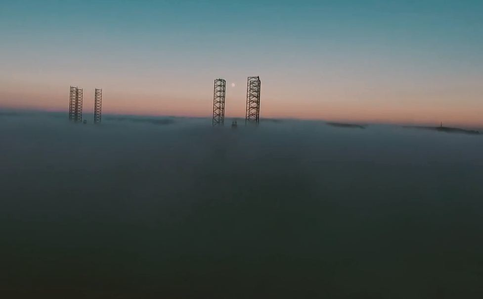 Above the clouds? Or swallowed by fog at Dundee port?