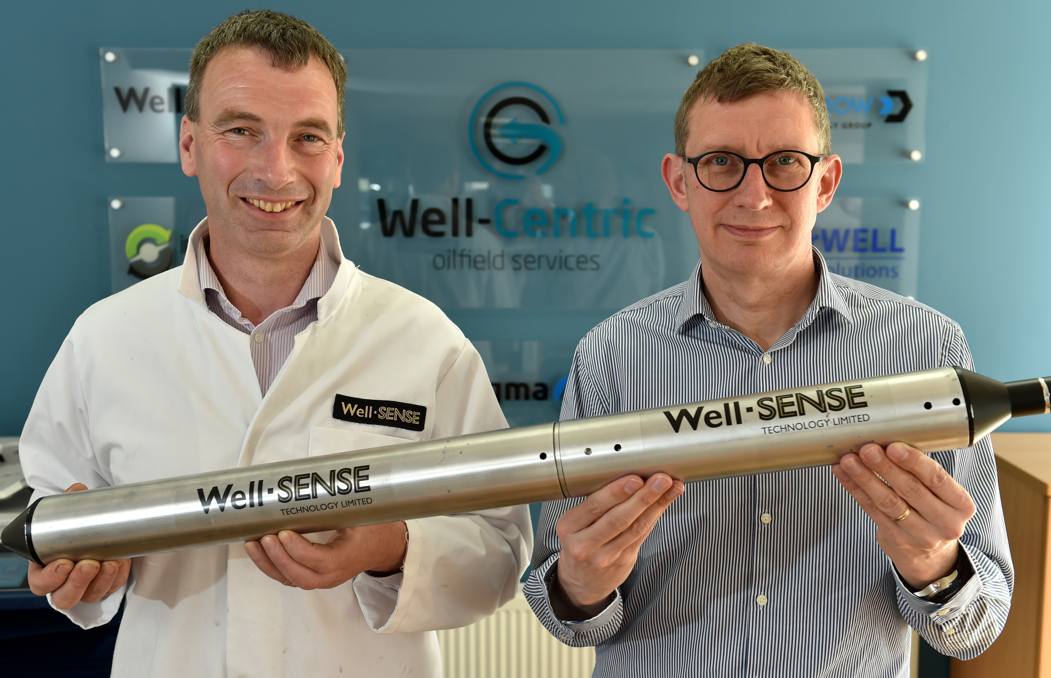 (L-R) Dan Purkis, technology director at Well-Sense Technology, and Stuart Ferguson, chief executive of FrontRow Energy Techology Group.