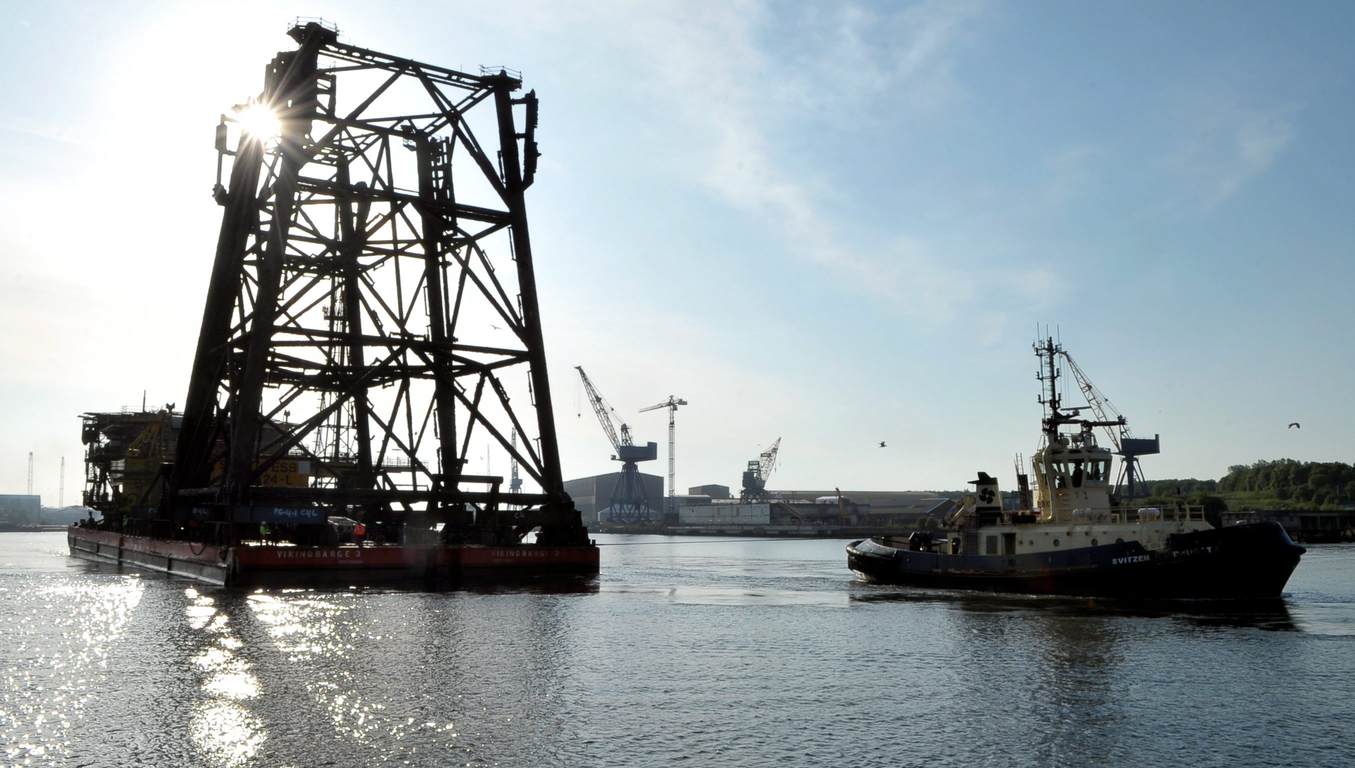Infrastructure from the Indefatigable field in the southern North Sea arrives in port for decommissioning.