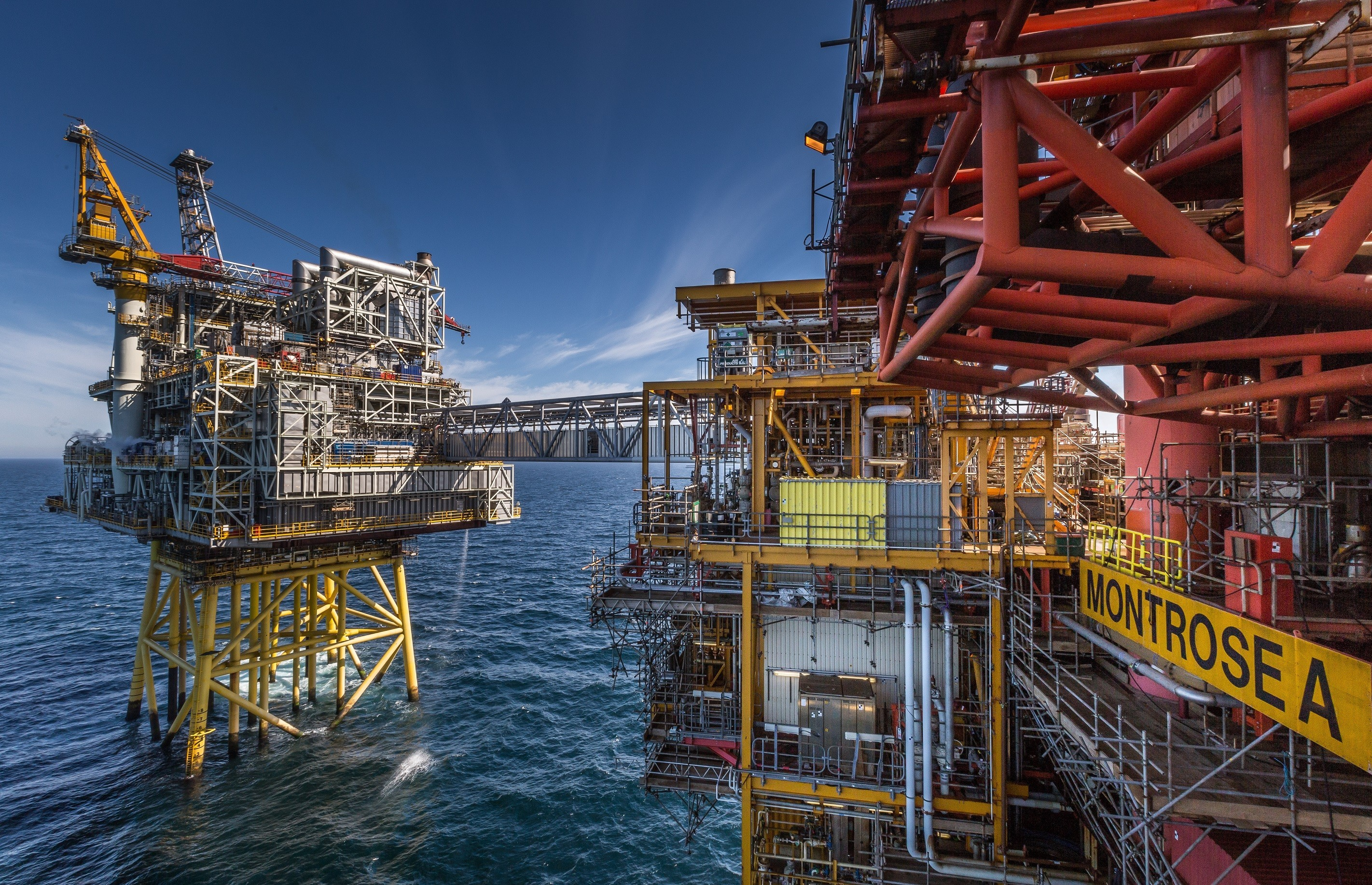 The Repsol Sinopec Resourses UK Montrose Alpha platform with the Montrose BLP located in the North Sea.