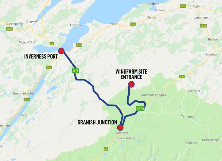 The route taken by the wind farm parts.