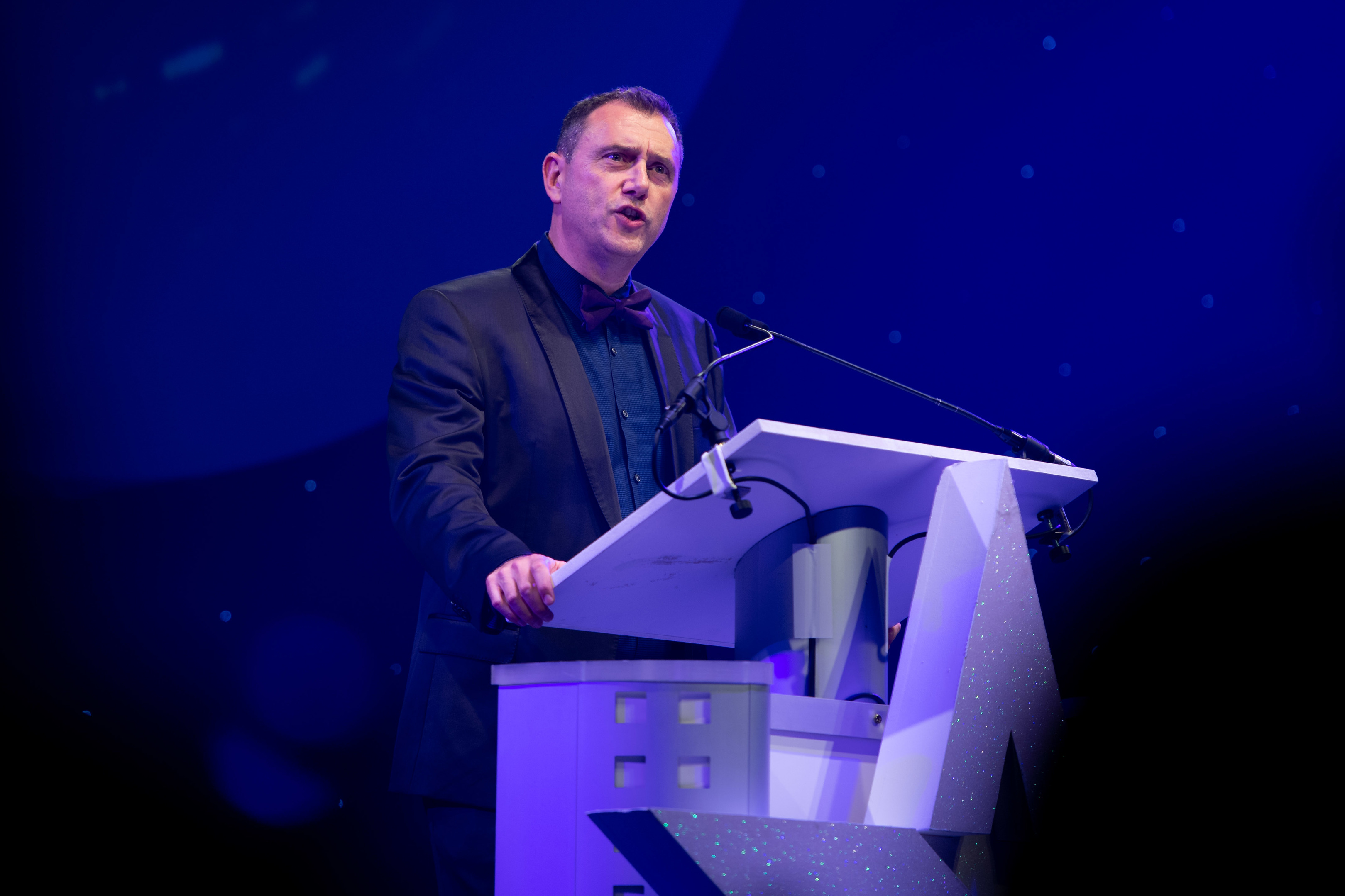 Northern Star Business Awards 2018. Pictured is Aberdeen & Grampian Chamber of Commerce Chief Executive, Russell Borthwick speaking at the awards.