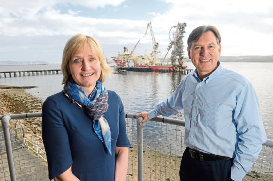 Deirdre Michie, Chief Executive of UK Oil and Gas during her visit to the Cromarty Firth Port Authority yesterday (Friday). Also in the photograph is port authority Chief Executive, Bob Buskie.