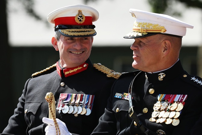 Former Major General Smith, in his former role as head of the Royal Marines, with General Robert Neller, Commandant of the United States Marines Corps. PIC: Royal Navy website