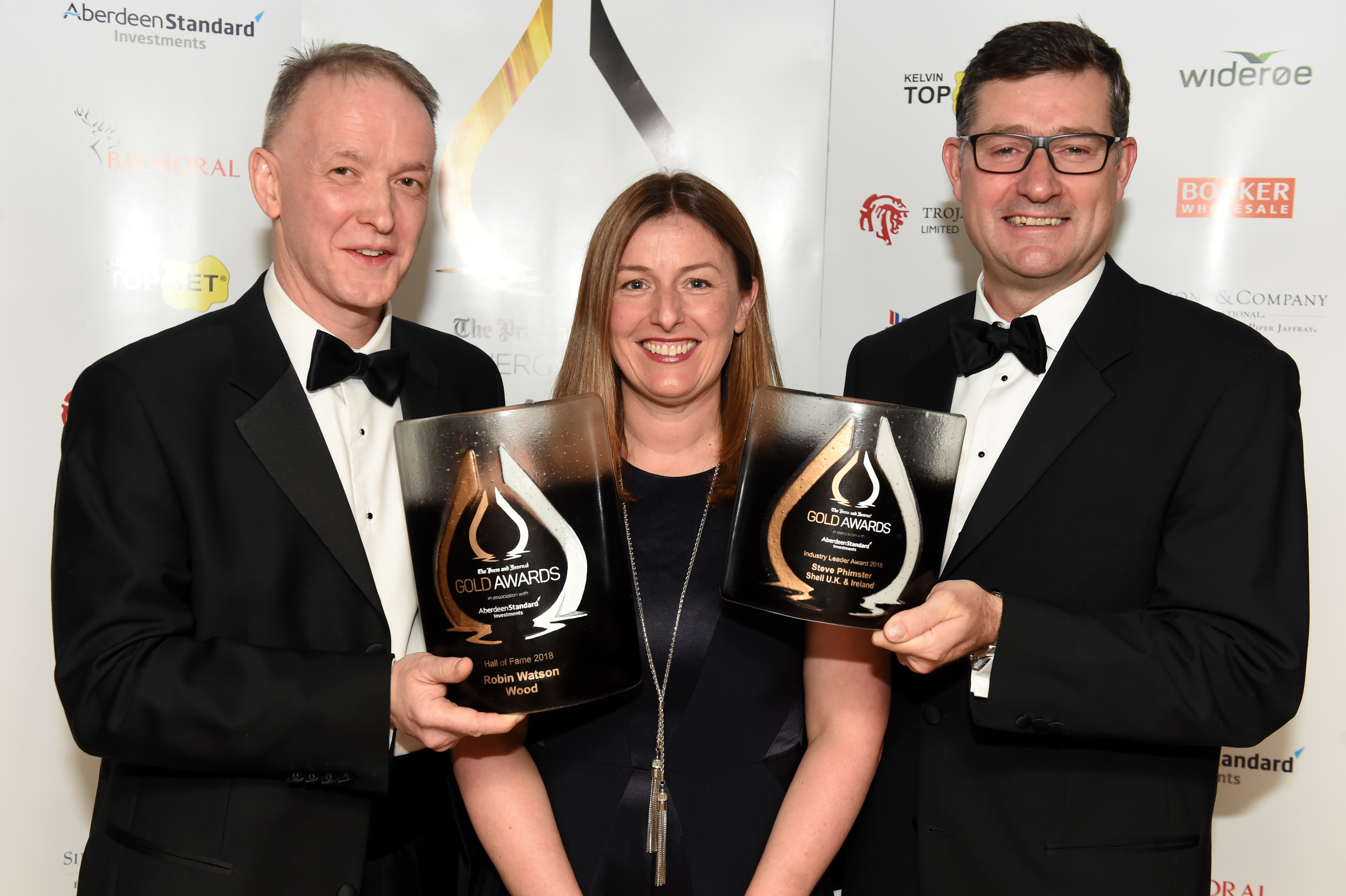 Press & Journal's Gold Awards 2018, at the Marcliffe Hotel.  Picture of (L-R) Hall of Fame winner and Wood CEO Robin Watson, Nicola Fraser from sponsor Aberdeen Standard Investments and Industry leader award winner Steve Phimister of Shell.   Picture by KENNY ELRICK     07/09/2018